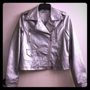 Joujou ~ Metallic Silver MOTO Faux Leather Jacket